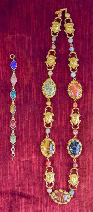 Miriam Haskell Egyptian Revival Necklace/Bracelet