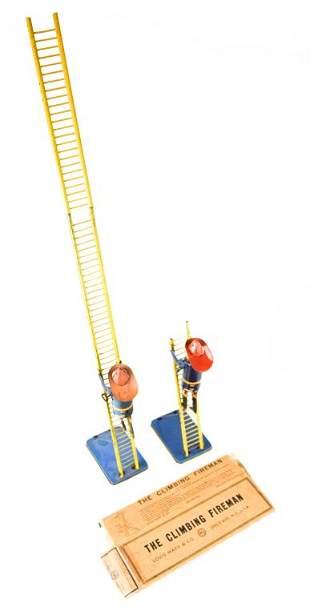 2 Marx Tin Litho Wind-Up Climbing Fireman Toys
