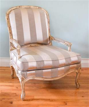 Pair of French Provincial Crosshatch Back Chairs