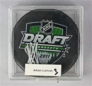 Adam Larsson Autographed 2011 NHL Draft Puck