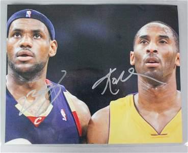 Autographed Lebron James & Kobe Bryant Photograph
