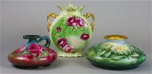 Grouping of 3 Limoges Porcelain Vases