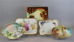 Limoges Porcelain Hand Painted Platters & Nappy