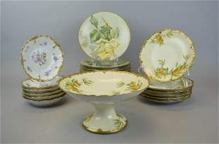 Group of Limoges Plates and Compote