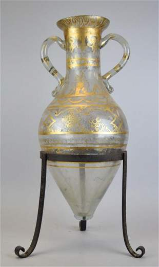 Glass Amphora in Wrought Iron Stand