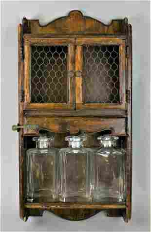 Wall Mounted Wooden Cabinet & Decanters