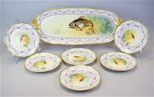7 Pieces Limoges Porcelain Fish Set