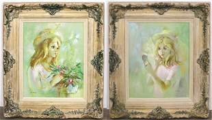 Pair of A. Todd Oil on Canvas Portraits