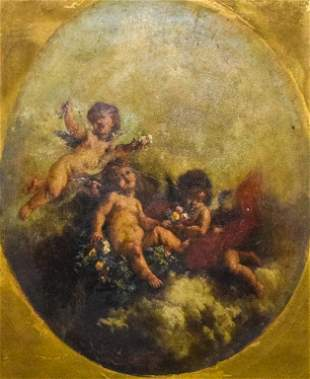 Jean-Ernest Aubert Oil on Canvas Cherubs