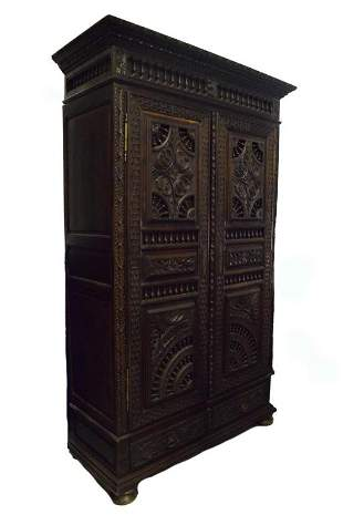 19th Century French Carved Armoire
