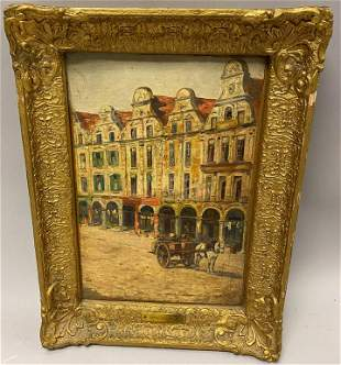 Emile Claus Oil on Canvas Horse Cart Village Scene