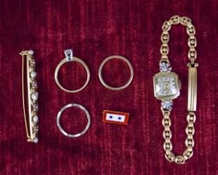 14 Karat Gold Gruen Watch With 14 Karat Jewelry