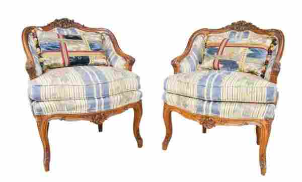 Pair of Walnut Victorian Arm Chairs with Pillows