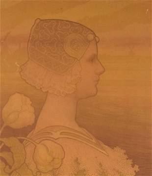Paul Berthon Queen Wilhelmina Lithograph