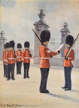 Hugh Boycott Brown Oil on Board The Queen's Guard