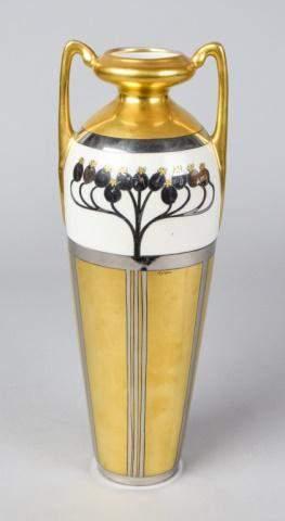 Pickard Art Nouveau Painted Porcelain Vase Signed
