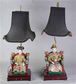 Pair of Chinese Figural Ceramic Table Lamps