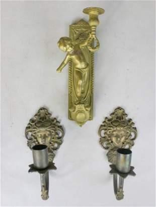 3 Figural Bronze Candle Sconces