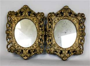Pair of Carved Gilt Wood Mirrors