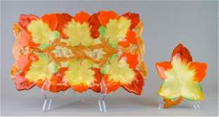 2 Pieces Clarice Cliff Leaf Pottery