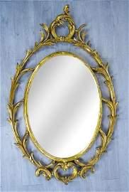 Oval Gilt Mirror with Foliate Surround