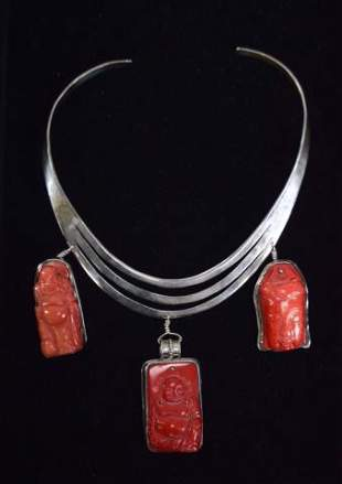 Sterling & Coral Buddha Necklace