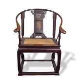 Carved Chinese Horseshoe Armchair