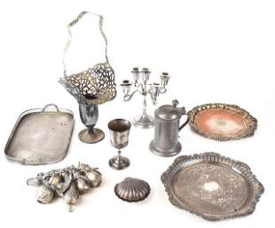 Grouping of Silverplate & Pewter