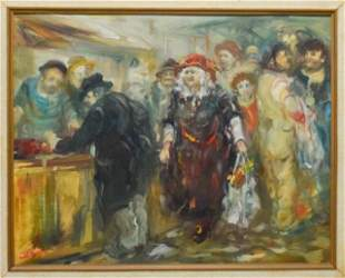 Moshe Chauski Oil on Canvas Panel Market Scene