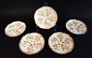 Set of 5 Haviland Limoges Seaweed Oyster Plates