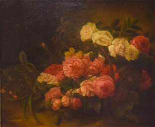 Signed Marianne Oil on Canvas Still Life