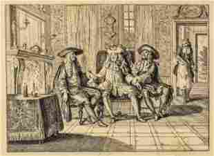 French Parlor Scene Engraving