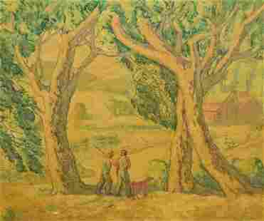Marco Zim Oil on Wood Panel People in Landscape