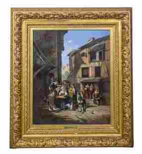 Carlo Rossi Oil on Canvas Village Scene