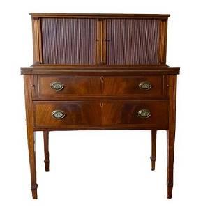 Hepplewhite Inlaid Mahogany Tambour Desk