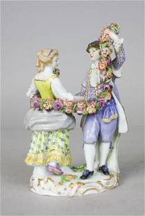 Meissen Porcelain Figurine Couple With Garland