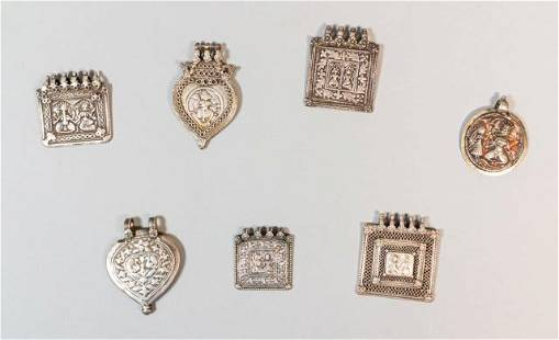 Grouping of 7 Silver Indian Pendants