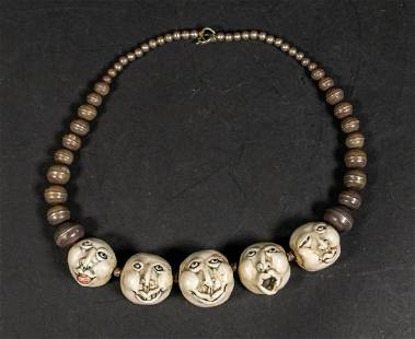 Silver & Clay Bead Face Necklace
