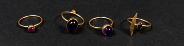 Grouping of 4 18Kt Gold Rings