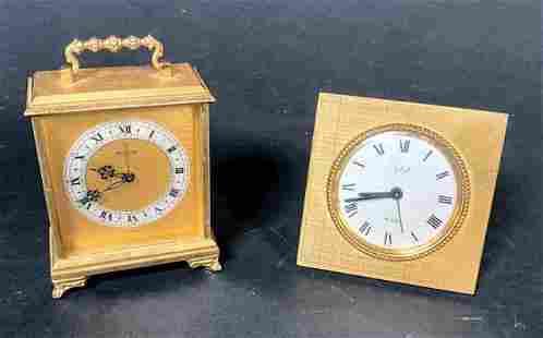 Lot of 2 Swiss Brass Table Alarm Clocks
