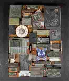 Woodblock Stamp and Clock Sculpture