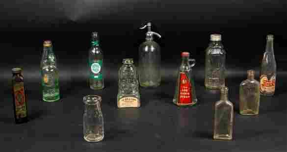 Lot of 11 Glass Soda and Liquor Bottles