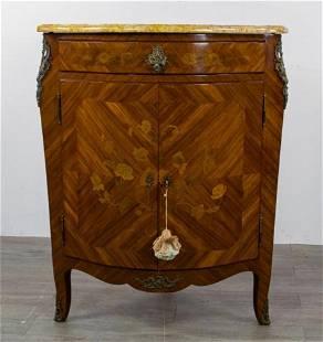 Louis XV Marble Top Corner Cabinet