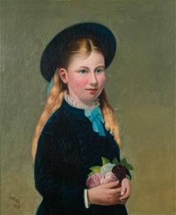 19th Century Oil on Canvas Portrait of a Girl