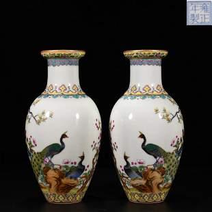 Pair Famille Rose Vases Yongzheng Style