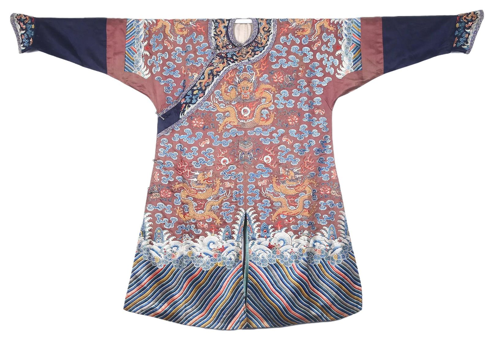 A Chinese Embroidered Dragon Court Robe Qing Dynasty
