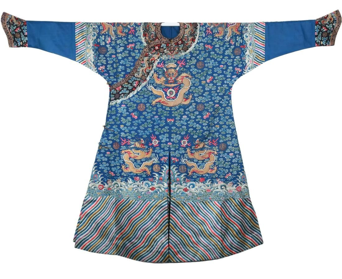 A Chinese Embroidered Dragon Robe Qing Dynasty