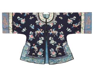 A Chinese Embroidered Phoenix and Peony Lady Robe Qing