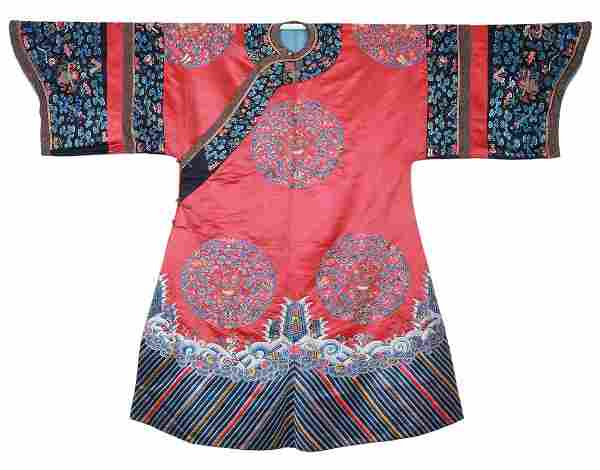 A Chinese Embroidered Medallion Laby Robe Qing Dynasty
