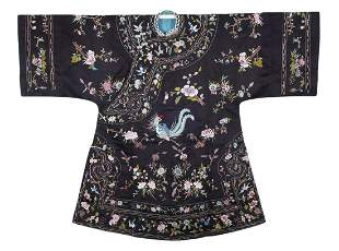 A Chinese Embroidered Phoenix and Floral Lady Robe Qing